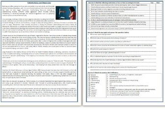 Cyberbullying and Depression - Reading Comprehension Worksheet - Informational Text