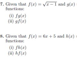 Composite and inverse functions worksheets (with solutions)