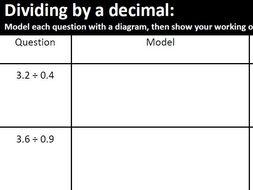 Dividing by a Decimal Worksheet