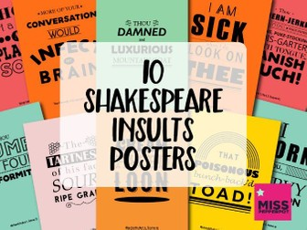 Shakespeare Insults Posters, Funny Shakespeare, Shakespeare Poster