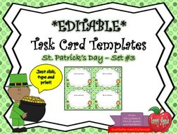 EDITABLE Task Card Templates - St. Patrick's Day - Set 3 - Commercial and Personal Use