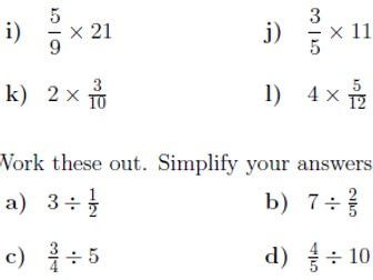 Multiplying and dividing fractions and whole numbers  worksheet (with solutions)