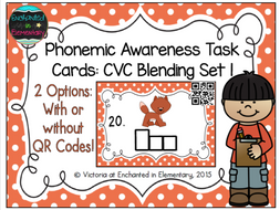 Phonemic Awareness Task Cards: CVC Blending Set 1