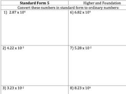 Gcse Maths Standard Form To Ordinary Numbers 30 Questions And