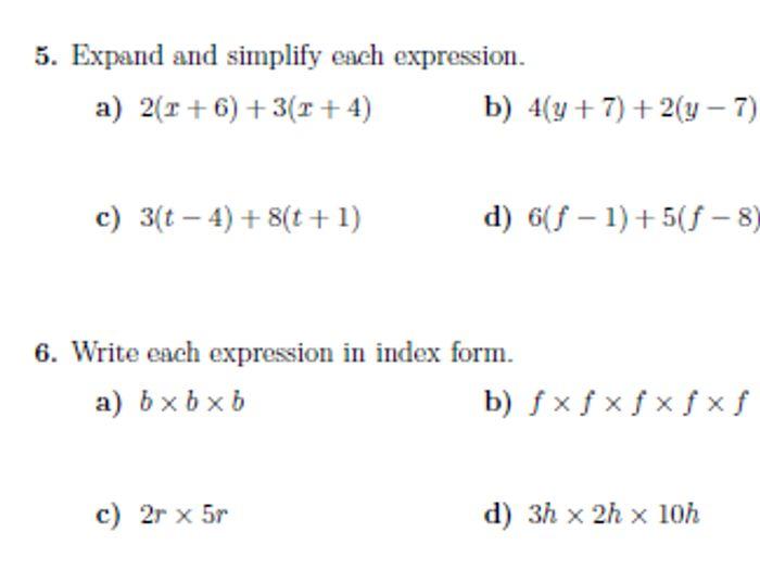 Basic algebra worksheet (with solutions)