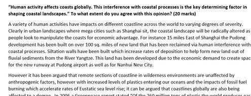 New AQA Geography A level coasts essay model answer.