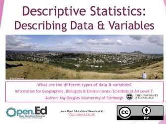 Descriptive Statistics: Describing Data & Variables
