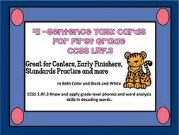 41 -Sentence Task Cards CCSS 1.RF.3