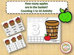Count 1 to 10 - How Many Apples Counting Activity