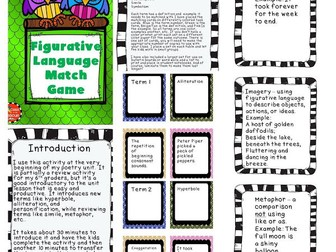 Figurative Language /Poetry Terms Match Game