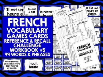 FRENCH VOCABULARY CARDS WITH REFERENCE & RECALL WORKBOOK #5