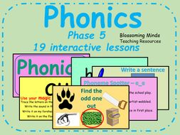 Phonics phase 5 - 19 interactive lessons