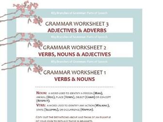 Grammar Worksheet Pack: Nouns, Verbs, Adjectives and Adverbs