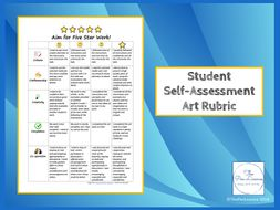 Aim for Five Star Work: Student Self-Assessment Rubric Poster