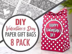 DIY Valentine's Day Paper Gift Bags | 8 Printable Templates to Make your own paper gift bag