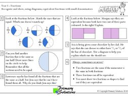 Mastery Maths  - Year 3 Reasoning - Fractions