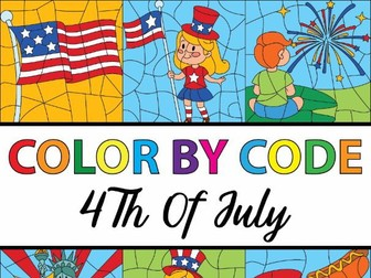 4th of July Color By Number Template