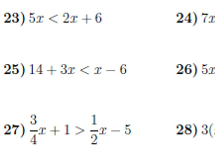 Linear inequalities worksheet (with solutions) by math_w ...