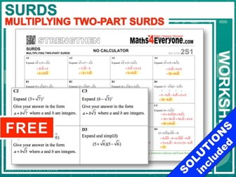 Multiplying Surds (Worksheet with Solutions)