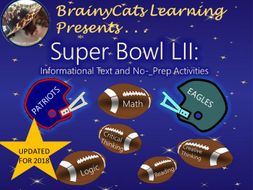 Super Bowl 2018:  Informational Text and No-Prep Activities
