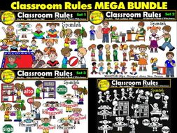 Classroom Rules Clipart Bundle Spanish Clips Bilingual Stars Mrs. Partida