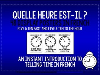 FRENCH TELLING TIME - 48 DISPLAY POSTERS / FLASHCARDS (2)