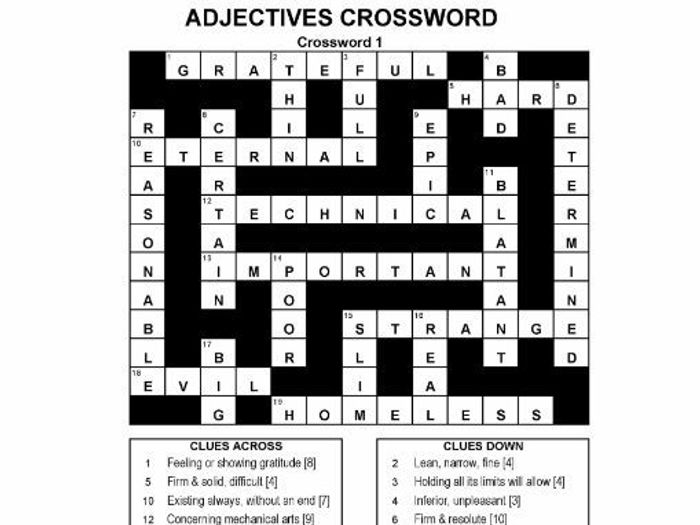 photo about Crossword Puzzles for High School Students Printable referred to as ADJECTIVES CROSSWORD PUZZLES
