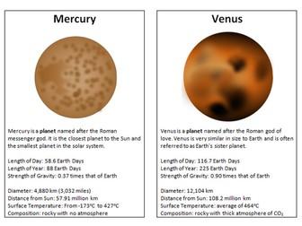 Solar System Information and Diagram (KS3/SEN)