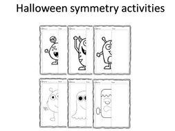 Halloween monsters symmetry art worksheets