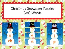 Phonics Christmas Snowman Puzzles - CVC Words