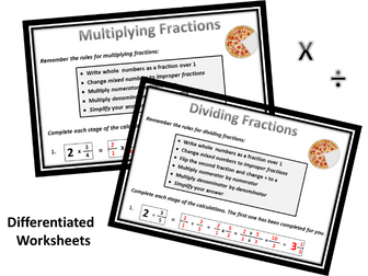 FRACTIONS Worksheets: Add-Subtract-Multiply-Divide by