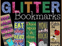 Printable Glitter Bookmarks for Students (set of 10 designs)