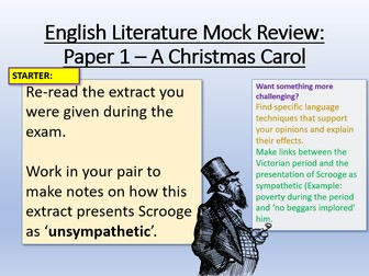 A Christmas Carol - Mock Exam Review