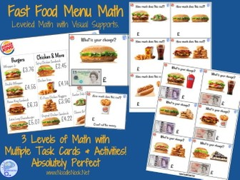 Fast Food Menu Math- BURGER KING for Autism Units and Early Elementary