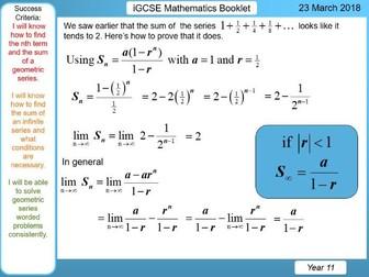 iGCSE Booklet (Cambridge only) - Geometric Series