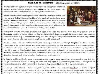 Much Ado About Nothing - Shakespeare's Comedy / Love Story - Reading Comprehension Worksheet
