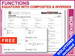Equations with Composite Functions (Worksheet with FULL solutions)