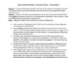 A Passage to Africa Detailed Notes - For Teachers or Students