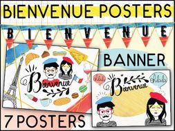 FRENCH BIENVENUE CLASSROOM DECOR SET - 7 POSTERS + 1 BANNER / PRINTABLE DISPLAY