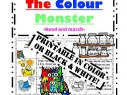 The Colour Monster reading: Match picture to emotion read stick & paste activity
