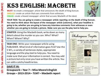 KS3/4 English MACBETH - Death of King Duncan Task Card