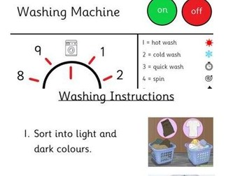 EYFS Home Corner Role Play - Washing Machine front dial and washing instructions