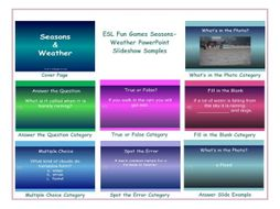 seasons weather powerpoint slideshow by eslfungames teaching