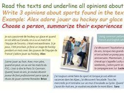 AQA GCSE Year 9 Le sport, c'est ma passion! Faire Jouer Opinions