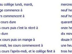 French chopped up sentences about school day