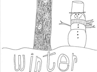 Winter: Seasons: Colouring Page