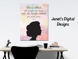 Printable Woman Silhouette Bible Verse Wall Art