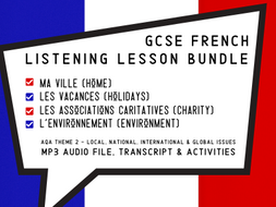 French GCSE Listening Lessons Bundle - Town Holidays Charity Environment
