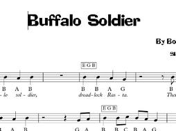 Reggae: Buffalo Soldier - Bob Marley Keyboard Sheet Music