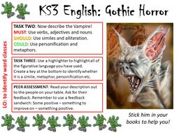 KS2/3 Word Class Task Card GOTHIC HORROR/WAR OF THE WORLDS - ENGLISH